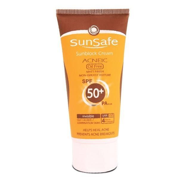 کرم ضد آفتاب آنتی آکنه سان سیف فاقد چربی +SPF50