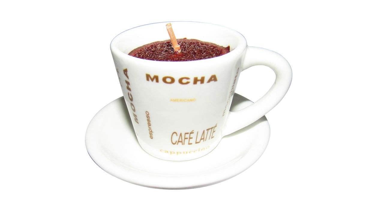 شمع مدل فنجان و نعلبکی چینی قهوه