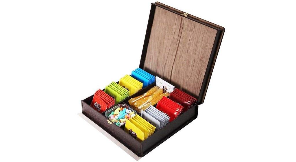 جعبه پذیرایی و هدیه چای و دمنوش گلبرگ زرین مدل TEA BOX بسته 48 عددی همراه با نبات و جعبه شکلات