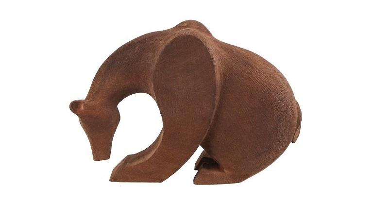 مجسمه چوبی گالری پورشیخ طرح خرس کد 190018