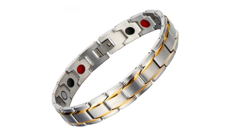 دستبند مغناطیسی سلامت داتیس مدل 102 نقره ای طلا یی 2500 گوس اسپرت