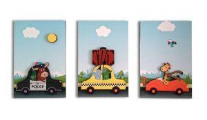 تابلو برجسته کودک ژیوار مدل Animals Car