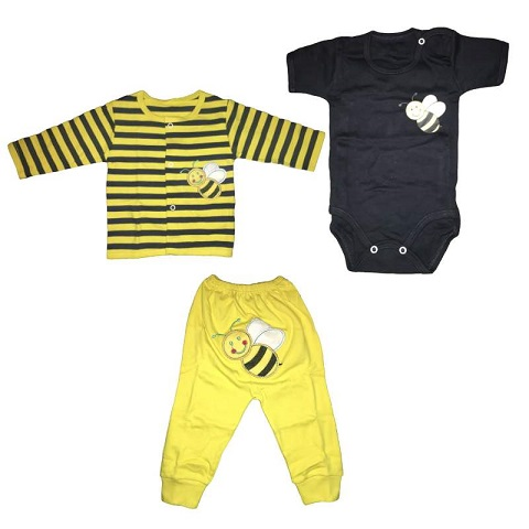 ست ۳ تکه لباس نوزادی طرح Honey bee