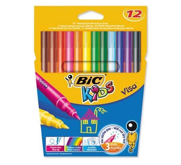 ماژیک رنگ آمیزی 12 رنگ بیک سری Kids مدل Visa