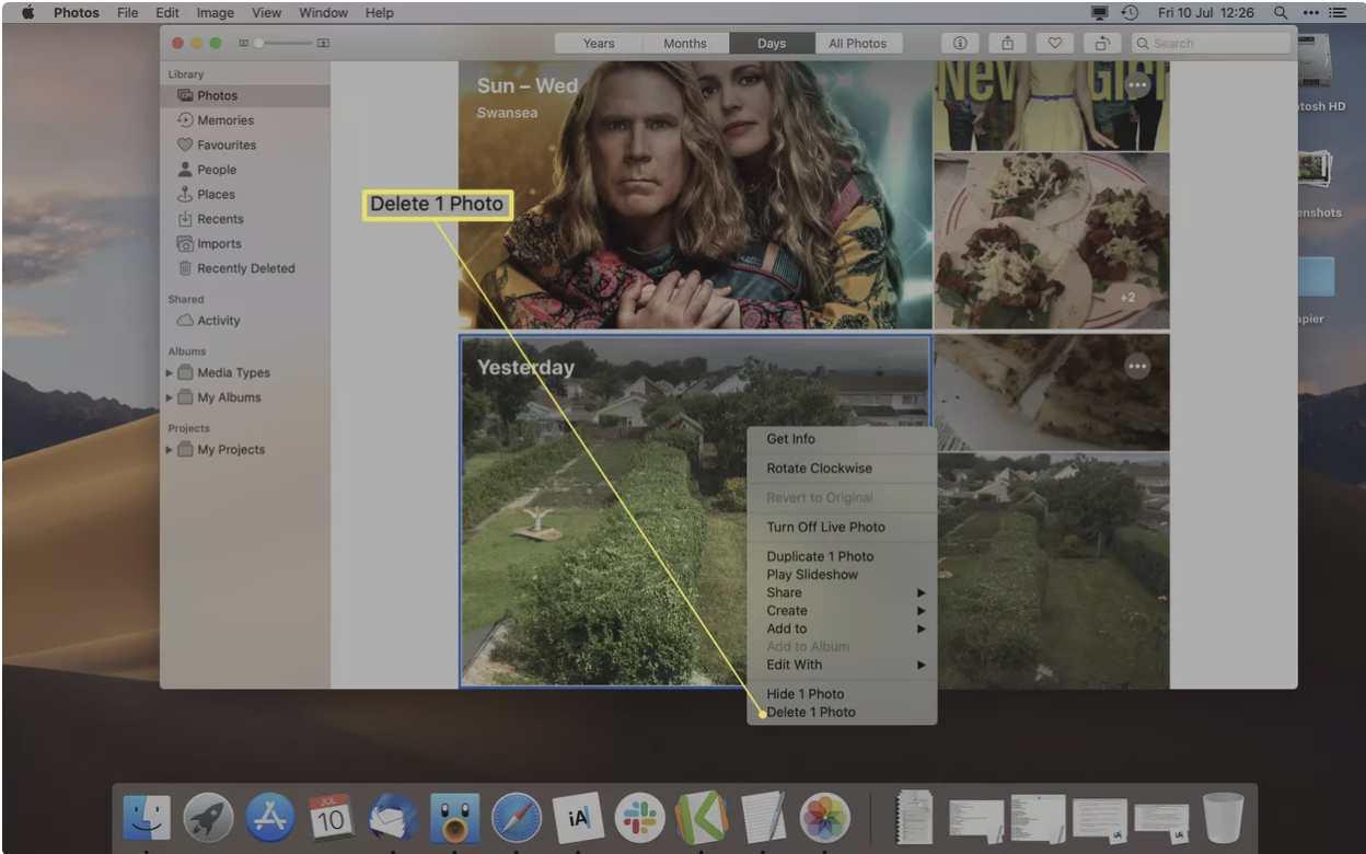 نحوهی حذف تصاویر در مک با استفاده از برنامهی Photos