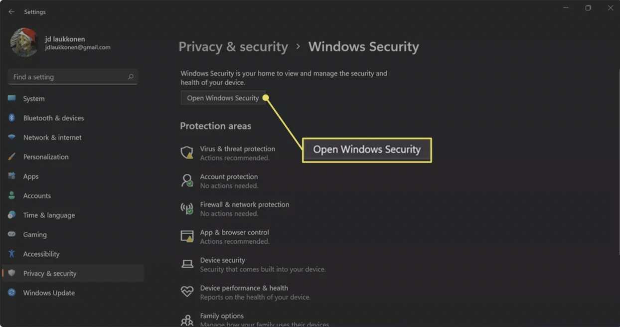 روی Open Windows Security کلیک کنید.
