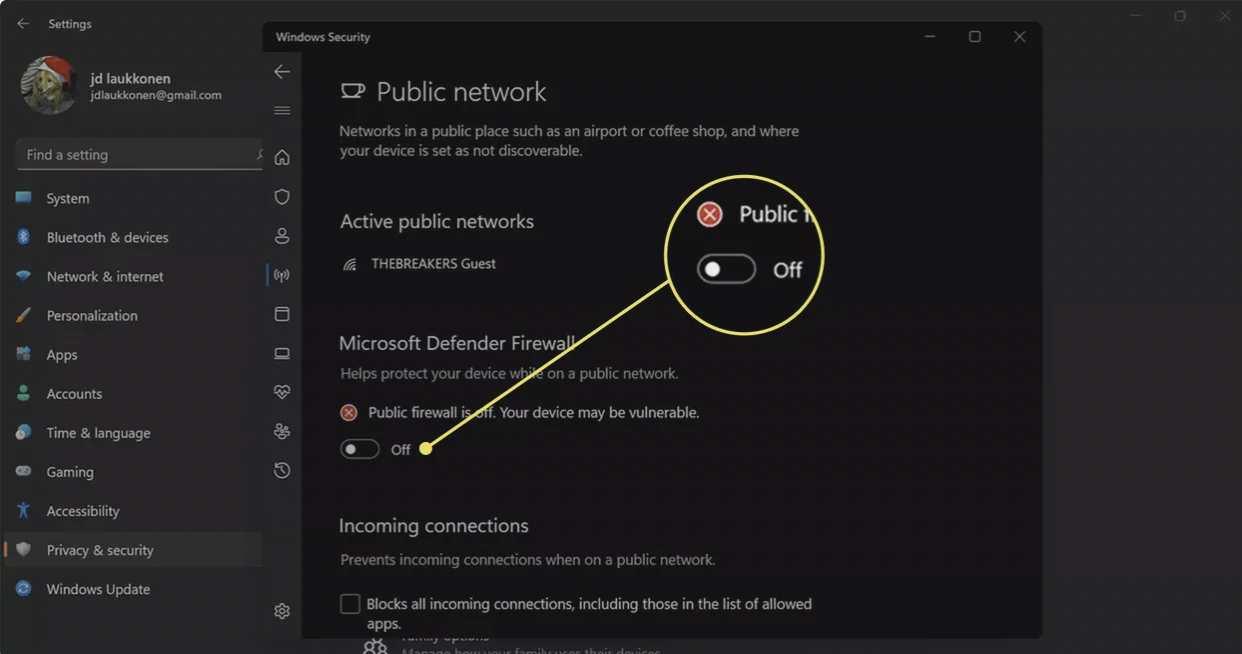 روشن کردن فایروال در ویندوز